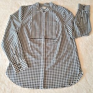 J. Crew Gingham Button Down Blouse Size Medium